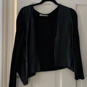Velvet drape front faux leather open cardigan